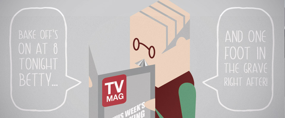 An illustration of an old man reading a television magazine